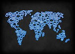 Illustrative image of map made of chat bubbles representing global communication