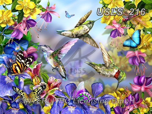 Lori, REALISTIC ANIMALS, REALISTISCHE TIERE, ANIMALES REALISTICOS, zeich, paintings+++++Hummingbirds And Butterflies_2013_18X24_72,USLS216,#a#, EVERYDAY ,puzzle,puzzles