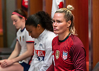 ORLANDO, FL - JANUARY 22: Ashlyn Harris #18 of the USWNT sits in the locker room before a game between Colombia and USWNT at Exploria stadium on January 22, 2021 in Orlando, Florida.