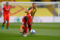 Pelly Ruddock of Luton Town (17)  and Tom Cleverley (8) of Watford during the Sky Bet Championship match between Watford and Luton Town at Vicarage Road, Watford, England on 26 September 2020. Photo by David Horn.