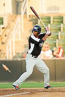 Nick Williams (1) of the Hickory Crawdads at bat against the Kannapolis Intimidators at CMC-Northeast Stadium on July 26, 2013 in Kannapolis, North Carolina.  The Intimidators defeated the Crawdads 2-1.  (Brian Westerholt/Four Seam Images)
