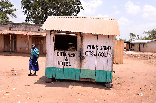 A dual purpose shop in northern Uganda.    After years of brutal insurgency by Joseph Kony's Lords Resistance Army (LRA), the region is now peaceful, and recovering.