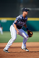 Lakeland Flying Tigers third baseman Colby Bortles (19) during a Florida State League game against the Dunedin Blue Jays on May 18, 2019 at Publix Field at Joker Marchant Stadium in Lakeland, Florida.  Dunedin defeated Lakeland 3-2 in eleven innings.  (Mike Janes/Four Seam Images)