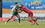 Connacht's Dennis Buckley is tackled by Scarlets' Johan Snyman<br /> <br /> Rugby - Scarlets V Connacht - Guinness Pro12 - Sunday 15th Febuary 2015 - Parc-y-Scarlets - Llanelli<br /> <br /> © www.sportingwales.com- PLEASE CREDIT IAN COOK