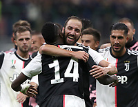 Calcio, Serie A: Inter Milano - Juventus, Giuseppe Meazza stadium, October 6 2019.<br /> Juventus' Gonzalo Higuain (r) and Blaise Matuidi (l)  celebrate after winning 2-1  the Italian Serie A football match between Inter and Juventus at Giuseppe Meazza (San Siro) stadium, October 6, 2019.<br /> UPDATE IMAGES PRESS/Isabella Bonotto