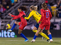 COLUMBUS, OH - NOVEMBER 07: Christen Press #23 of the United States controls the ball during a game between Sweden and USWNT at Mapfre Stadium on November 07, 2019 in Columbus, Ohio.