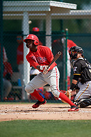 Philadelphia Phillies Keudy Bocio (13) during a minor league Spring Training game against the Pittsburgh Pirates on March 13, 2019 at Pirate City in Bradenton, Florida.  (Mike Janes/Four Seam Images)