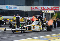 Jun. 1, 2012; Englishtown, NJ, USA: NHRA top fuel dragster driver Tony Schumacher during qualifying for the Supernationals at Raceway Park. Mandatory Credit: Mark J. Rebilas-