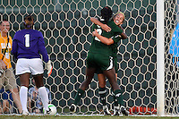 Baylor forward Bri Campos (10) and defender Precious Akanyirige (2) celebrate after scoring against TCU during first half of an NCAA soccer game, Friday, October 03, 2014 in Waco, Tex. TCU draw 1-1 against Baylor in double overtime. (Mo Khursheed/TFV Media via AP Images)