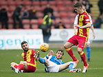 Partick Thistle v St Johnstone…28.10.17…  Firhill…  SPFL<br />Murray Davidson battles with Steven Lawless and Blair Spittal<br />Picture by Graeme Hart. <br />Copyright Perthshire Picture Agency<br />Tel: 01738 623350  Mobile: 07990 594431