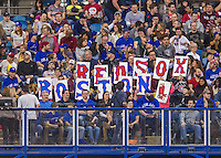 2 April 2016: Boston Red Sox fans enjoy a pre-season exhibition game between the Toronto Blue Jays and the Red Sox at Olympic Stadium in Montreal, Quebec, Canada. The Red Sox defeated the Blue Jays 7-4 in the second of two MLB weekend games, which saw a two-game series attendance of 106,102 at the former home on the Montreal Expos. Mandatory Credit: Ed Wolfstein Photo *** RAW (NEF) Image File Available ***