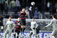 CARY, NC - DECEMBER 13: Jared Gilbey #8 of Stanford University heads the ball during a game between Stanford and Georgetown at Sahlen's Stadium at WakeMed Soccer Park on December 13, 2019 in Cary, North Carolina.