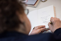 """Die Schriftstellerin und Lyrikerin Gisela Steineckert stellte am Donnerstag den 21. April 2016 in der Ladengalerie der Tageszeitung """"junge Welt"""" ihr neuestes Buch """"Eines schoenen Tages"""" vor.<br /> 21.4.2016, Berlin<br /> Copyright: Christian-Ditsch.de<br /> [Inhaltsveraendernde Manipulation des Fotos nur nach ausdruecklicher Genehmigung des Fotografen. Vereinbarungen ueber Abtretung von Persoenlichkeitsrechten/Model Release der abgebildeten Person/Personen liegen nicht vor. NO MODEL RELEASE! Nur fuer Redaktionelle Zwecke. Don't publish without copyright Christian-Ditsch.de, Veroeffentlichung nur mit Fotografennennung, sowie gegen Honorar, MwSt. und Beleg. Konto: I N G - D i B a, IBAN DE58500105175400192269, BIC INGDDEFFXXX, Kontakt: post@christian-ditsch.de<br /> Bei der Bearbeitung der Dateiinformationen darf die Urheberkennzeichnung in den EXIF- und  IPTC-Daten nicht entfernt werden, diese sind in digitalen Medien nach §95c UrhG rechtlich geschuetzt. Der Urhebervermerk wird gemaess §13 UrhG verlangt.]"""
