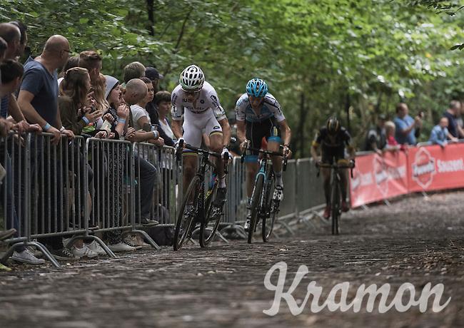 Race leaders Wout Van Aert (BEL/Crelan-Vastgoedservice) & Michael Vanthourenhout (BEL/Marlux-NapoleonGames) up the infamous 'Muur van Geraardsbergen'<br /> <br /> Brico-cross Geraardsbergen 2016<br /> U23 + Elite Mens race