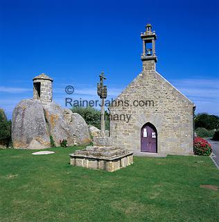 France, Brittany, near Brignogan Plage: Chapel and traditional Breton Cross
