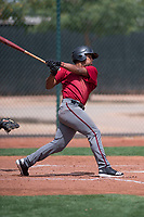 Arizona Diamondbacks third baseman Eddie Hernandez (14) follows through on his swing during an Extended Spring Training game against the Cleveland Indians at the Cleveland Indians Training Complex on May 27, 2018 in Goodyear, Arizona. (Zachary Lucy/Four Seam Images)