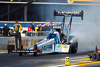 Feb 7, 2020; Pomona, CA, USA; NHRA top fuel driver Leah Pruett during qualifying for the Winternationals at Auto Club Raceway at Pomona. Mandatory Credit: Mark J. Rebilas-USA TODAY Sports