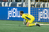 FOXBOROUGH, MA - SEPTEMBER 19: Matt Turner #30 of New England Revolution saves a shot on goal during a game between New York City FC and New England Revolution at Gillette on September 19, 2020 in Foxborough, Massachusetts.