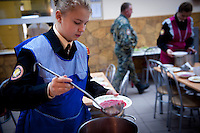RUSSIA, Moscow, 10.2010. ©  Sergey Kozmin/EST&OST.The Moscow Girls Cadet Boarding School..All the cadets are involved in everyday duties. These girls are in charge of the kitchen.