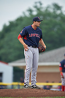 Lowell Spinners starting pitcher Nick Duron (43) looks in for the sign during a game against the Batavia Muckdogs on July 12, 2017 at Dwyer Stadium in Batavia, New York.  Batavia defeated Lowell 7-2.  (Mike Janes/Four Seam Images)