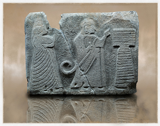 Picture & image of an Imperial Hittite orthostat dshowing a King & Queen before an altar from Alacahöyük,  Alaca Çorum Province,, Turkey. Museum of Anatolian Civilisations, Ankara. Old Bronze age Chalcolithic Period. 5