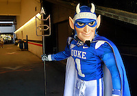 CHARLOTTESVILLE, VA- NOVEMBER 12:   The Duke Blue Devils mascot waits inside the tunnel before the game against the Virginia Cavaliers on November 12, 2011 at Scott Stadium in Charlottesville, Virginia. Virginia defeated Duke 31-21. (Photo by Andrew Shurtleff/Getty Images) *** Local Caption ***