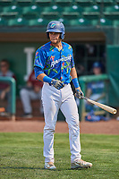 Marco Hernandez (38) of the Ogden Raptors bats against the Idaho Falls Chukars at Lindquist Field on July 29, 2018 in Ogden, Utah. The Raptors defeated the Chukars 20-19. (Stephen Smith/Four Seam Images)