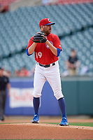 Buffalo Bisons starting pitcher Conor Fisk (49) gets ready to deliver a pitch during a game against the Lehigh Valley IronPigs on June 23, 2018 at Coca-Cola Field in Buffalo, New York.  Lehigh Valley defeated Buffalo 4-1.  (Mike Janes/Four Seam Images)