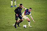 Leonardo Suarez of Club America (MEX) and Mark-Anthony Kaye of Los Angeles FC (USA)  in action during their CONCACAF Champions League Semi Finals match at the Orlando's Exploria Stadium on 19 December 2020, in Florida, USA. Photo by Victor Fraile / Power Sport Images