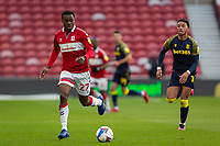 13th March 2021; Riverside Stadium, Middlesbrough, Cleveland, England; English Football League Championship Football, Middlesbrough versus Stoke City; Marc Bola of Middlesbrough on the ball watched by Tommy Smith of Stoke City