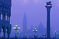 Italy, Venice. View of San Giorgio Maggiore and the column of San Marco from Piazzetta  San Marco at dawn