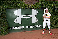 Cal Raleigh (35) of Smoky Mountain High School in Cullowhee, North Carolina poses for a photo during practice before the Under Armour All-American Game on August 16, 2014 at Wrigley Field in Chicago, Illinois.  (Mike Janes/Four Seam Images)