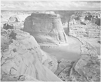 """View of valley from mountain, """"Canyon de Chelly"""" National Monument, Arizona.;<br /> From the series Ansel Adams Photographs of National Parks and Monuments, compiled 1941 - 1942, documenting the period ca. 1933 - 1942.<br /> Date <br /> <br /> 1942"""