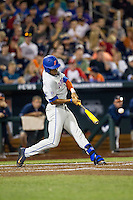 Florida Gators outfielder Buddy Reed (23) swings the bat during the NCAA College baseball World Series against the Virginia Cavaliers on June 15, 2015 at TD Ameritrade Park in Omaha, Nebraska. Virginia defeated Florida 1-0. (Andrew Woolley/Four Seam Images)