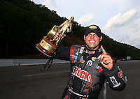 Jun 21, 2015; Bristol, TN, USA; NHRA funny car driver Matt Hagan celebrates after winning the Thunder Valley Nationals at Bristol Dragway. Mandatory Credit: Mark J. Rebilas-
