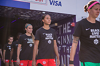 ORLANDO, FL - FEBRUARY 24: Jade Rose #3 of the CANWNT walks out of the tunnel before a game between Brazil and Canada at Exploria Stadium on February 24, 2021 in Orlando, Florida.