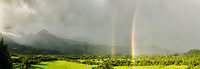 Double rainbow over Hanalei Valley. Kauai, Hawaii.