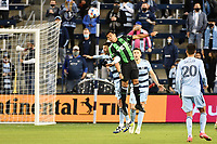 KANSAS CITY, KS - MAY 9: Nick Lima #24 Austin FC heads the ball during a game between Austin FC and Sporting Kansas City at Children's Mercy Park on May 9, 2021 in Kansas City, Kansas.