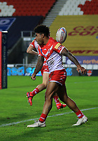 20th November 2020; Totally Wicked Stadium, Saint Helens, Merseyside, England; BetFred Super League Playoff Rugby, Saint Helens Saints v Catalan Dragons; Kevin Naiqama of St Helens celebrates after scoring a try after 31 minutes to give his team a 12-2 lead
