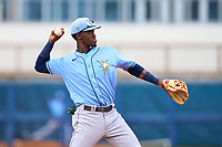 Tampa Bay Rays shortstop Alejandro Pie (64) throws to first base during a Minor League Spring Training game against the Atlanta Braves on June 1, 2021 at Charlotte Sports Park in Port Charlotte, Florida.  (Mike Janes/Four Seam Images)