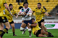 Robert Leota of the Melbourne Rebels is tackled during the Super Rugby - Hurricanes v Rebels at Sky Stadium, Wellington, New Zealand on Friday 21 May 2021.<br /> Photo by Masanori Udagawa. <br /> www.photowellington.photoshelter.com