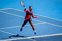 18th February 2021, Melbourne, Victoria, Australia; Serena Williams of the United States of America returns the ball during the semifinals of the 2021 Australian Open on February 18, 2021, at Melbourne Park in Melbourne, Australia.