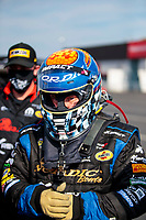 Aug 9, 2020; Clermont, Indiana, USA; NHRA top fuel driver Cory McClenathan during the Indy Nationals at Lucas Oil Raceway. Mandatory Credit: Mark J. Rebilas-USA TODAY Sports