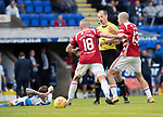 St Johnstone v Hamilton Accies…23.09.17…  McDiarmid Park… SPFL<br />Darian MacKinnon and Alex Gogic surround referee Willie Collum after being shown a red card fro bringing down Paul Paton<br />Picture by Graeme Hart. <br />Copyright Perthshire Picture Agency<br />Tel: 01738 623350  Mobile: 07990 594431