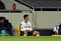 Son Heung-Min of Tottenham Hotspur sts alone after being substituted during Tottenham Hotspur vs Everton, Premier League Football at Tottenham Hotspur Stadium on 6th July 2020