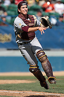 Beau Maggi #38 of the Arizona State Sun Devils throws to first base during a game against the Long Beach State Dirtbags at Blair Field on March 11, 2012 in Long Beach,California. Arizona State defeated Long Beach State 6-1.(Larry Goren/Four Seam Images)