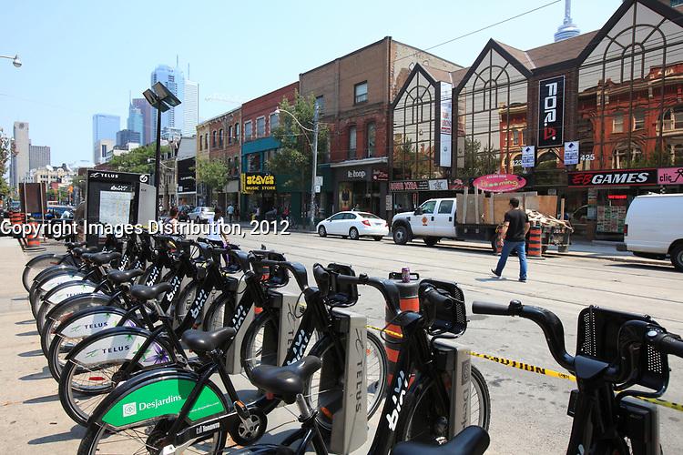 Toronto (ON) CANADA - July 2012 - Queen street west -BIXI stand