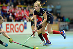 GER - Luebeck, Germany, February 06: During the 1. Bundesliga Damen indoor hockey semi final match at the Final 4 between Berliner HC (blue) and Duesseldorfer HC (red) on February 6, 2016 at Hansehalle Luebeck in Luebeck, Germany. Final score 1-3 (HT 0-1). (Photo by Dirk Markgraf / www.265-images.com) *** Local caption *** Lena Jacobi #30 of Berliner HC