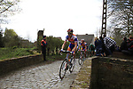 The peloton led by Rabobank's Lars Boom (NED) enter the Molenberg climb during the 96th edition of The Tour of Flanders 2012, running 256.9km from Bruges to Oudenaarde, Belgium. 1st April 2012. <br /> (Photo by Steven Franzoni/NEWSFILE).