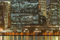 Midtown Manhattan Cityscape Illuminated at Night, with focus on the United Nations Headquarters, New York City, New York State, USA